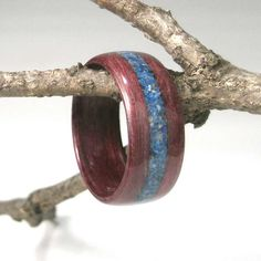 Wooden Ring Purpleheart with Lapis Inlay by tpursell on Etsy