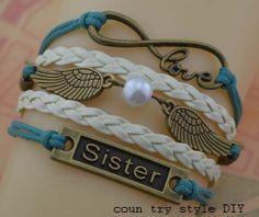 Sisters bracelet wings and snitch bracelet by CountrystyleDIY, $5.99