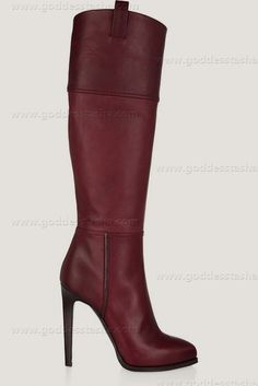 by Emilio Pucci (knee boots,plum leather)