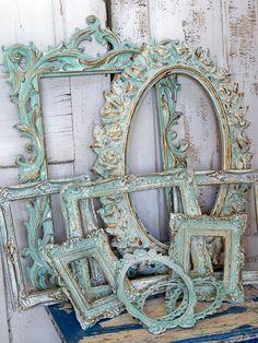 Aqua white ornate frame grouping, vintage antique mix distressed Baroque gesso styles Anita Spero