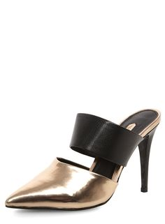 Bronze high pointed mule