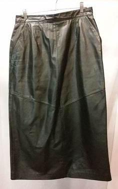 Lord & Taylor Luxury Women's office pencil Skirt Genuine Leather Black Sz 12 #LordTaylor #StraightPencil