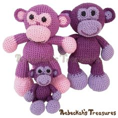 Grape Ape and Little Bigfoot Monkeys - Free crochet patterns by @beckastreasures and @sharonojala