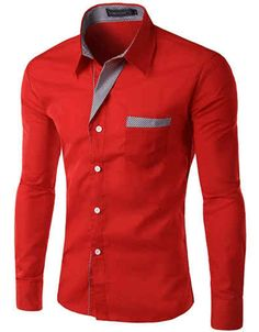 Slim Fit Shirt w/ Contrasting Placket Red