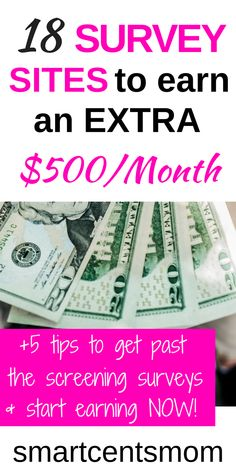 These survey sites are so easy and free to use to start earning money online! I love the extra tips for earning more with online surveys! survey sites l make extra money l work from home jobs l make money at home l passive income l side hustl Make Money Fast Online, Earn Money From Home, Way To Make Money, Money Today, Surveys For Money, Paid Surveys, Earning Money, Online Survey Sites, Online Jobs