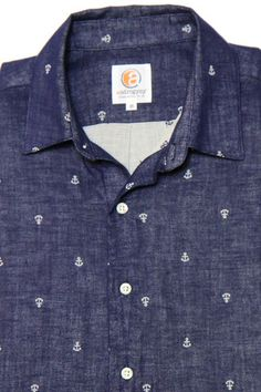 Favorite! Navy Anchor Button-up Shirt for Women | Androgynous Fashion - Androgyny