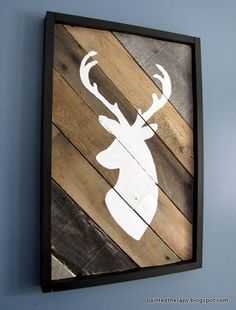 Planked Rustic Painted Deer Head Home Decor by The Reclaimed Life #rustichomedecor