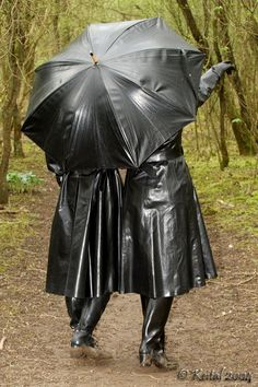 Two Black Rubber Raincoats & Boots