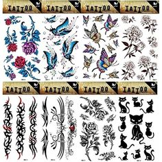 GGSELL GGSELL 8pcs different temporary tattoos designs in one package, it including flowers,roses,butterflies,totem and cute cat tattoo stickers *** Check this awesome product by going to the link at the image. (This is an affiliate link) #Makeup