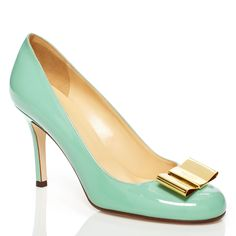mint and gold bowed heels from kate spade