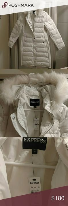 White Express brand down coat Winter white. Down filled. Faux fur collar. Love this coat. NWT, never worn. Thanks for looking!! Express Jackets & Coats
