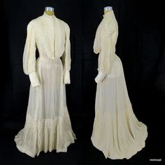 Antique 1900-1910 Edwardian Wedding Dress Pigeon Blouse Bustle Skirt Smocking XS #Wedding http://stores.ebay.com/mmmosts-Old-time-Stuff-and-Threads