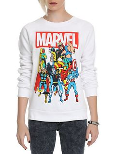 Marvel Group Girls Crewneck Sweatshirt | Hot Topic. Love it <3