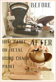 Did you know that you could paint on metal using chalk paint? Don't pass up a thrifty find because the color is all wrong, just paint it! www.whitelacecottage.com