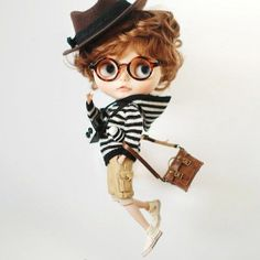 Miss yo hand-knitted Stripes Sweater for Blythe doll - outfit - Black & White | eBay