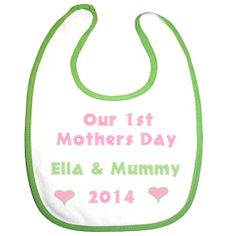 our first mothers day baby and mums celebration 2014 personalised embroidery baby girls feeding bib $8.00 by BabysPreciousGifts