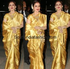 Rekha in Golden Yellow Bridal Saree ~ Celebrity Sarees, Designer Sarees, Bridal Sarees, Latest Blouse Designs 2014