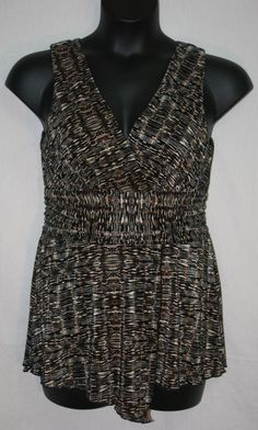 Dressbarn Brown Black Tunic Blouse Size 10 Sleeveless V Neck Women's Career Fashion Wear to Work