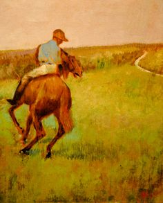 HORSES IN THE MEADOW EDGAR DEGAS FRENCH PAINTING ART REAL CANVAS GICLEEPRINT