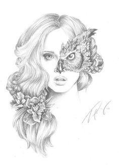this illustration is beautiful! and could be redone by using a females facial/ portrait area and have her lips coloured red, use half the face of an animal, use the rose within her hair Illustration Manga, Portrait Illustration, Et Tattoo, Tattoo Wolf, Kunst Tattoos, Gcse Art, Amazing Art, Awesome, Cool Tattoos
