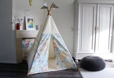 Play Teepee tent | Map Print | MIDI size by MoozleTeepee on Etsy