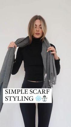 Ways To Tie Scarves, Ways To Wear A Scarf, How To Wear Scarves, Scarf Wearing Styles, Scarf Styles, Diy Fashion, Fashion Outfits, Fashion Looks, Fashion Tips