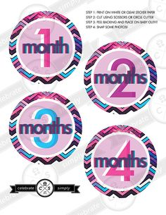 Monthly Baby Milestone Stickers - Space Nebula Chevron - INSTANT DOWNLOAD on Etsy, $5.00