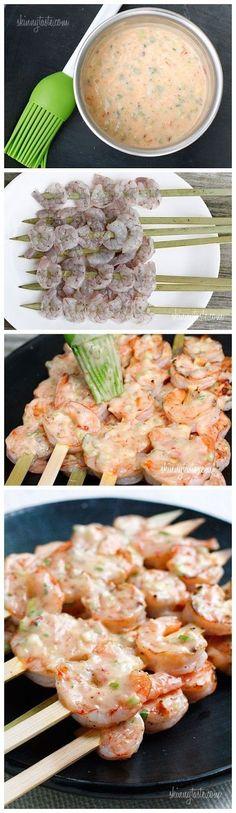 Bangin Grilled Shrimp Skewers by skinnytaste #Shrimp_Skewers #Grilling