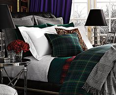 One Kings Lane - Celebrating 30 Years of Ralph Lauren Home Layers create warmth and interest Guest Bedrooms, Master Bedroom, Bedroom Decor, Masculine Room, Home Interior, Interior Design, Suites, Tartan Plaid, Beautiful Bedrooms