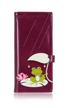 ESPE Drizzle Purple Frog Large Long Clutch Wallet Coin Card . $30.00. Enjoy life in the rain or shine with this adorable little prince charming!  Fit all your bills, coins, ID's and cards into this delightful wallet that has 14 card slots, 4 bill slots and 1 coin zippered compartment.