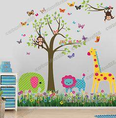 Jungle Monkey Owl Tree Butterfly Wall Stickers Animal Decor Mural Decal Nursery