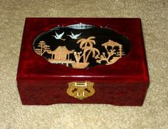 High Lacquer 3-D Cut Bamboo Inset Jewelry Box on Bonanza
