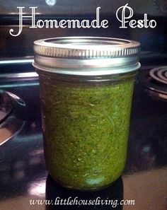 Homemade Pesto and how to preserve it canning preserving pesto - Put a dollop on top of olive oil, sprinkle with parmesan & serve with crusty bread. This pin also has canning recipes! Canning Tips, Home Canning, Canning Pesto, Canning Kitchen Ideas, Salsa Canning Recipes, Pressure Canning Recipes, Easy Canning, Canning Labels, Canned Food Storage