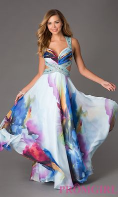 This floor length print formal dress by Dave and Johnny boasts a colorful abstract multi-colored floral print that will match any color scheme. Description from simplydresses.com. I searched for this on bing.com/images