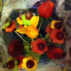 Biting The Hand That Feeds You: Teacher Appreciation Gift Idea Fruit Bouquet w/kumquat butterfly