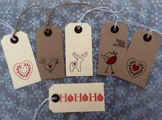Large Handmade Christmas Vintage Style Gift Tags, Shabby Chic, Label, Set of 10