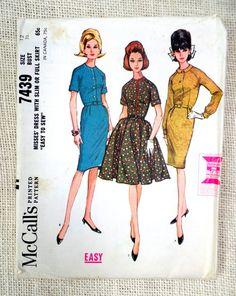 Vintage Pattern McCall's 7439 1960s wiggle dress Pencil Full skirt Belted shirtwaist Bust 36 Full skirt Bust 32