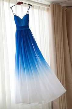 Spaghetti Strap Royal Blue Ombre Bridesmaid Dress,Chiffon Prom Dress,A-line Bridesmaid Gown Cheap Prom Dresses Uk, Ombre Prom Dresses, Pretty Dresses, Homecoming Dresses, Beautiful Dresses, Formal Dresses, Dress Prom, Elegant Dresses, Sexy Dresses