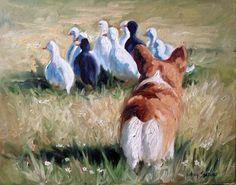 PRINT Pembroke Welsh Corgi Dog Art Oil Painting Herding dog Ducks Field / Mary Sparrow of Hanging the Moon