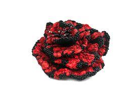 Bright deep scarlet red and jet black hand felted flower von vart