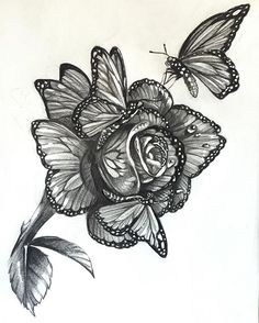 Rose Drawing Rose Drawing When butterflies get together and make a rose, I give you the Monarch Rose. For my sleeve – - Tattoo Rose And Butterfly Tattoo, Butterfly Tattoo Designs, Butterfly Sleeve Tattoo, Tattoo Video, 1 Tattoo, Tattoo Bird, Tattoo Swallow, Tattoo Wolf, Small Tattoo