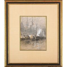"""Copenhagen Pier;"" Robert Swain Gifford, watercolor/gouache on paper, 11 x 8 3/4"", private collection."