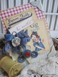 What a wonderfully charming vintage inspired handmade card (love the summery hues!). #card #scrapbooking #vintage #buttons