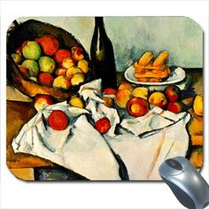 cezanne thanksgiving | Still life with bottle and apple basket - Paul Cezanne Mouse Pad