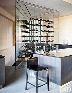 Director Michael Bay's home: A glass-enclosed wine closet further distinguishes the kitchen.