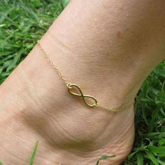 Anklet Bracelet Gold ankle Infinity anklet by HLcollection on Etsy Silver Ankle Bracelet, Gold Anklet, Anklet Bracelet, Beaded Anklets, Fashion Bracelets, Fashion Rings, Fashion Jewelry, Style Fashion, Gold Fashion