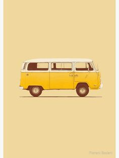 'Yellow Van' Spiral Notebook by Florent Bodart - - Millions of unique designs by independent artists. Find your thing. Yellow Aesthetic Pastel, Rainbow Aesthetic, Aesthetic Colors, Pastel Yellow, Aesthetic Images, Aesthetic Collage, Aesthetic Vintage, Mellow Yellow, Aesthetic Wallpapers