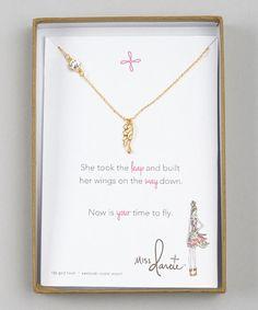 Look at this #zulilyfind! Gold Miss Darcie Wing Pendant Necklace #zulilyfinds
