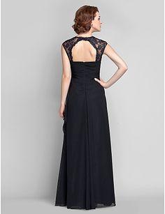 Sheath/Column Plus Sizes Mother of the Bride Dress - Black Floor-length Sleeveless Chiffon/Lace – USD $ 129.99