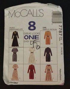 McCalls Sewing Pattern 7787 Womens Size 14 16 18 Dresses 8 Styles Modest UNCUT #McCalls #8GreatLooksOneEasyPattern